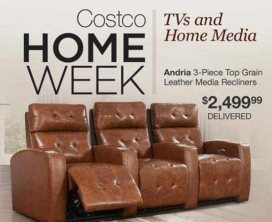 update your living room or media center and save on leather sets