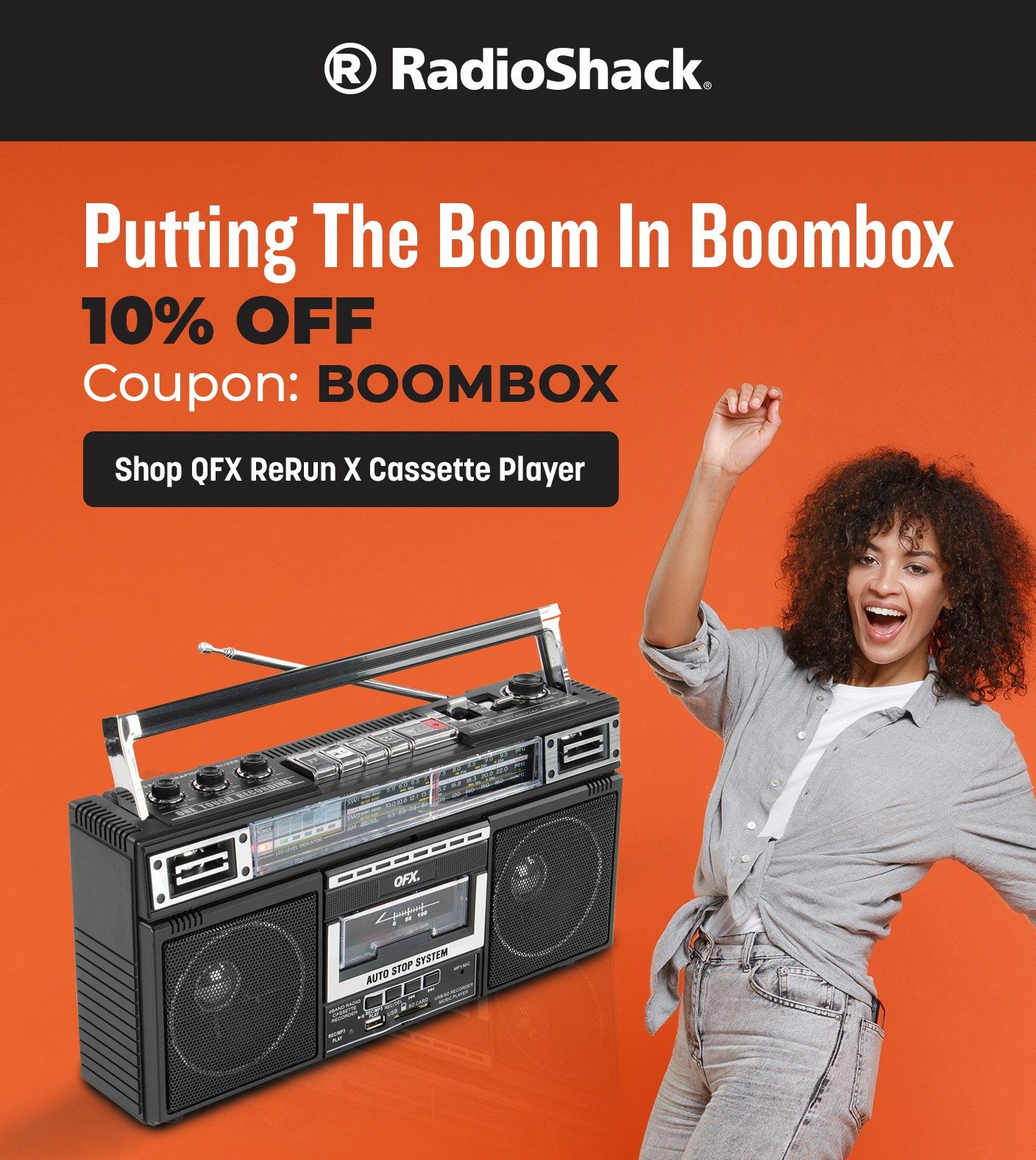 QFX ReRun X Cassette Player Retro Boombox with 4-Band Radio, MP3 Converter, and Bluetooth