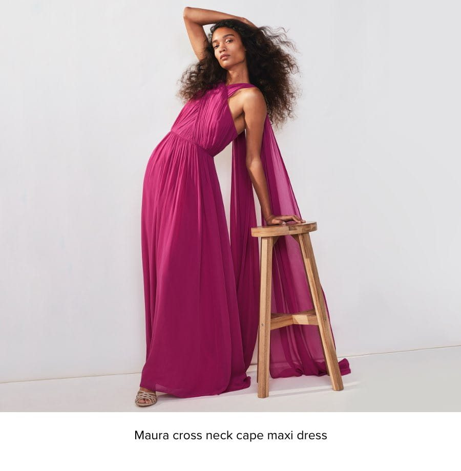 MAURA CROSS NECK CAPE MAXI DRESS