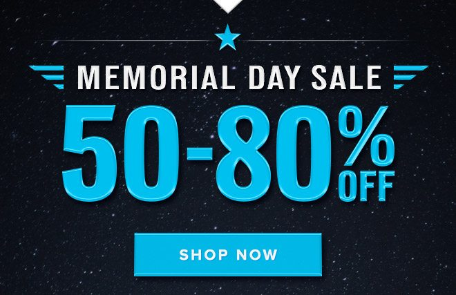 Memorial Day Sale: 50-80% Off - Shop Now