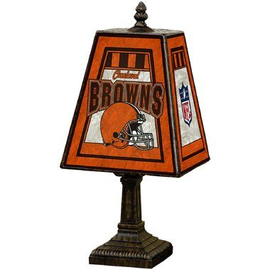 """Cleveland Browns 14.5"""" Art Glass Table Lamp"""