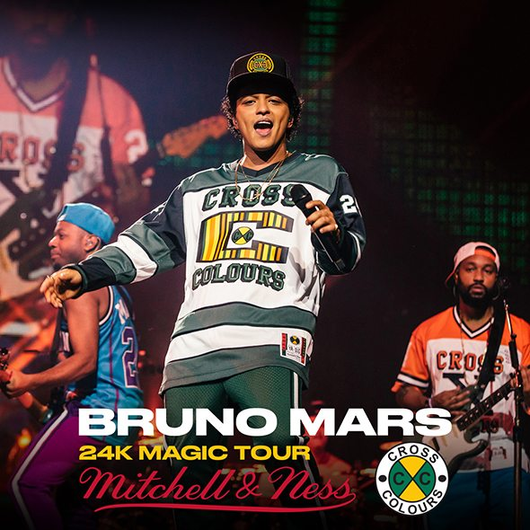 fc864cc8218 In collaboration with Mitchell & Ness and Cross Colours, Bruno Mars brings  you the 24K Magic Tour Collection. Including the items seen on stage and  worn by ...