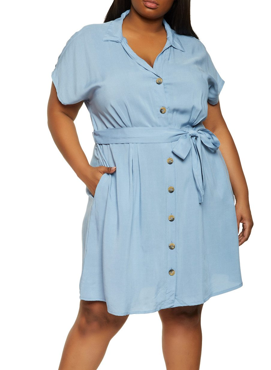 Plus Size Button Front Tie Waist Dress