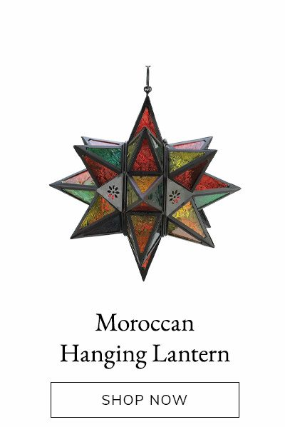 Moroccan Style Hanging Star Candle Lantern with Jewel Toned Etched Glass | SHOP NOW