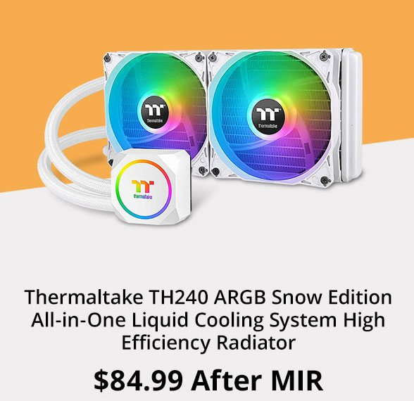 Thermaltake TH240 ARGB Snow Edition All-in-One Liquid Cooling System High Efficiency Radiator