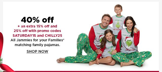 40% off jammies for your families matching family pajamas. shop now.