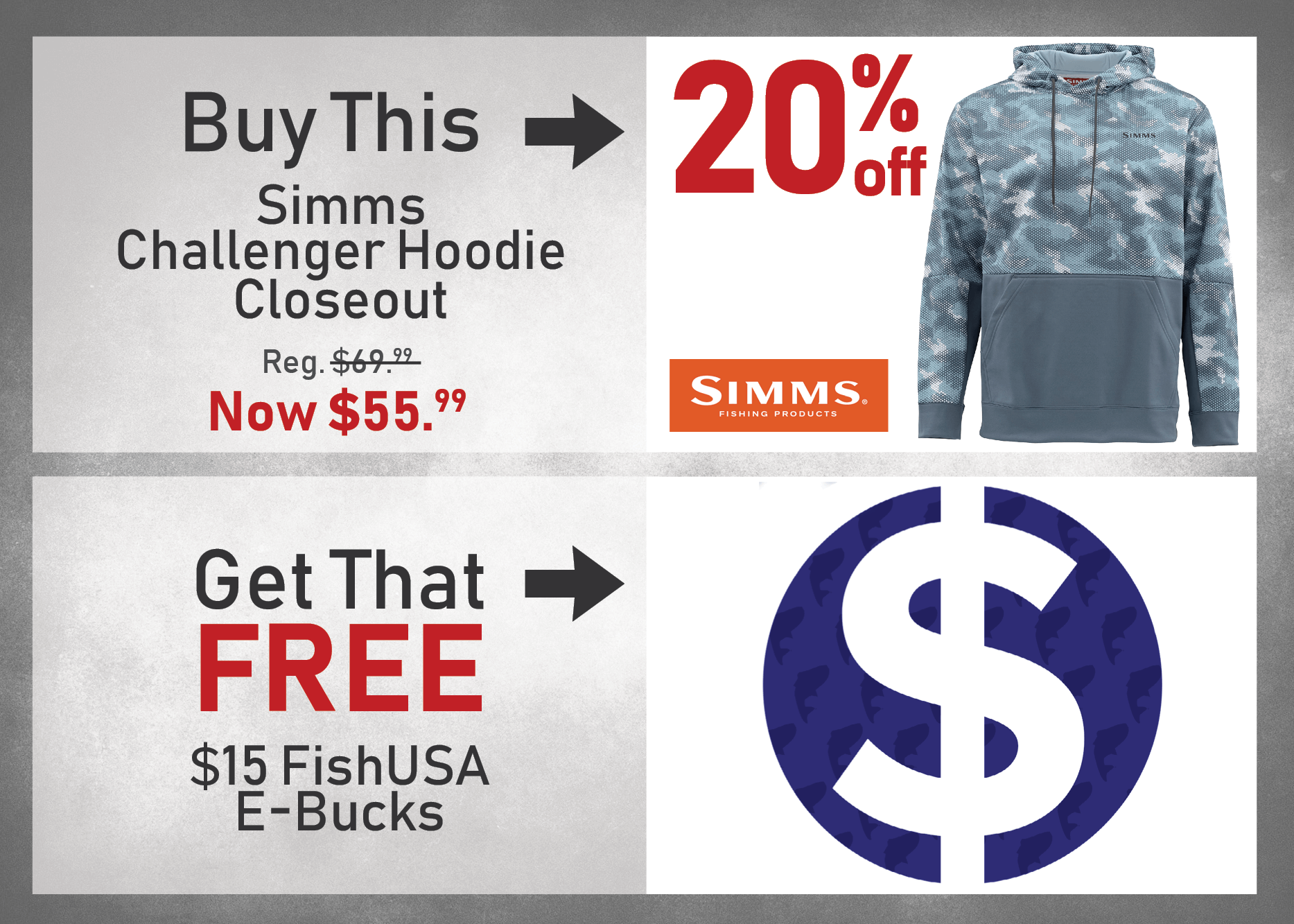 Buy a Simms Challenger Hoodie - Closeout at 20% off and get $15 FishUSA E-Bucks!