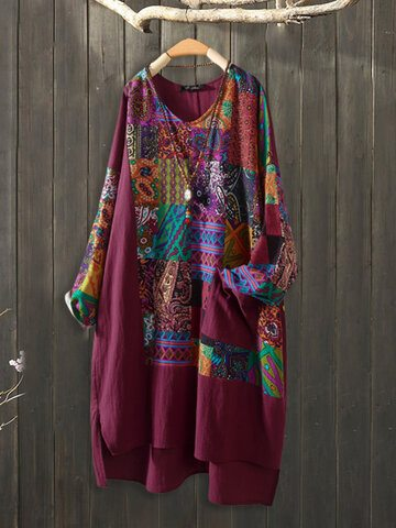 Ethnic Patchwork Irregular Long Shirt