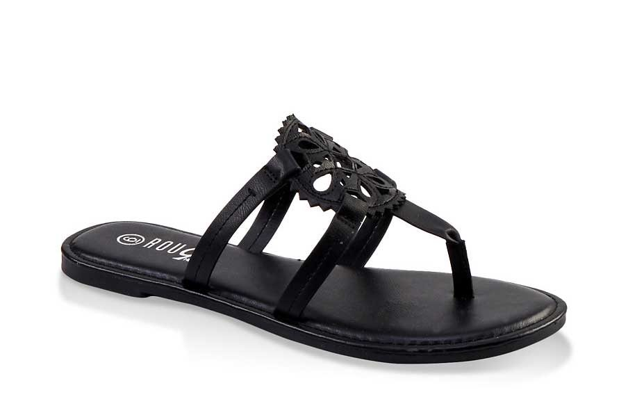 Laser Cut Caged Thong Sandals