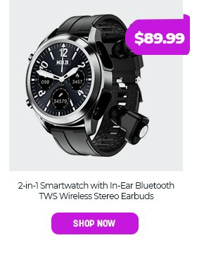 2-in-1 Smartwatch with In-Ear Bluetooth TWS Wireless Stereo Earbuds
