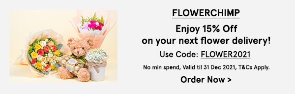FlowerChimp: Extra 15% Off your next flower delivery!