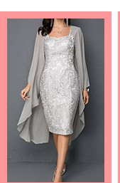 Open Front Top and Tie Back Lace Dress