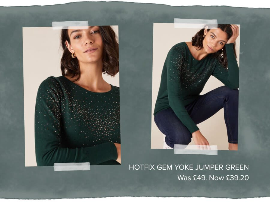 Hotfix gem knit jumper with sustainable viscose green