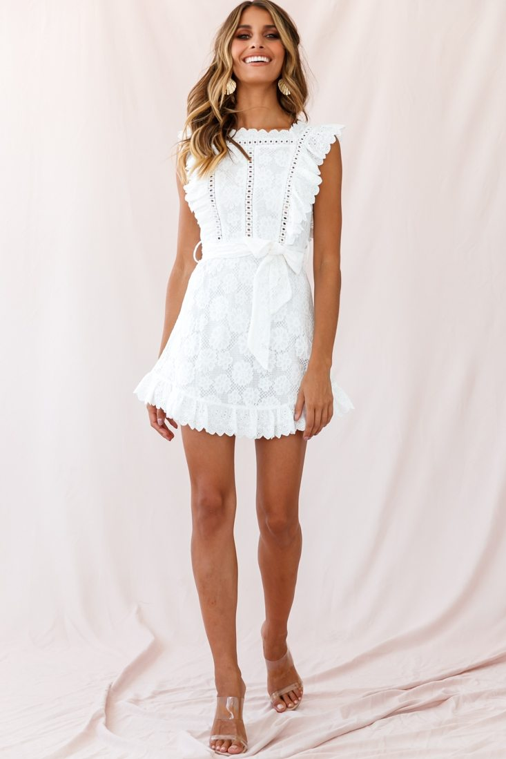 Prairie Crochet Frill Dress White