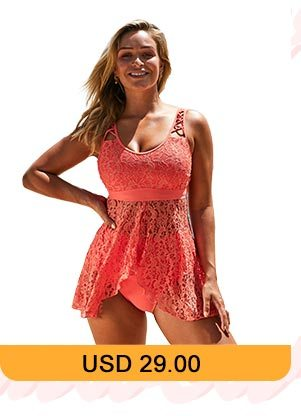 Lace Panel Asymmetric Hem Orange Lingerie Swimdress and Panty