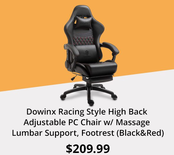 Dowinx Racing Style High Back Adjustable PC Chair w/ Massage Lumbar Support, Footrest (Black&Red)
