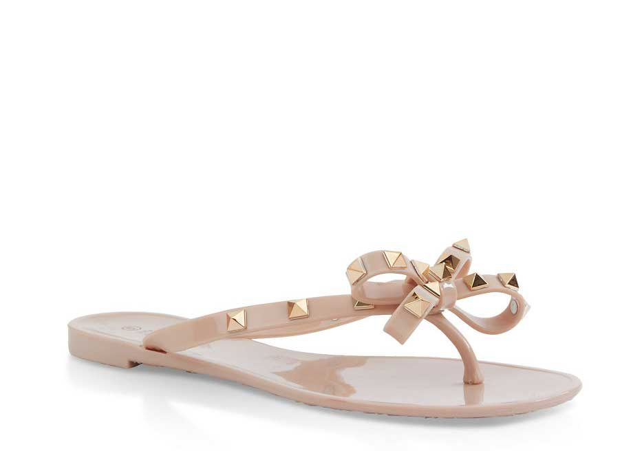Studded Bow Jelly Thong Sandals