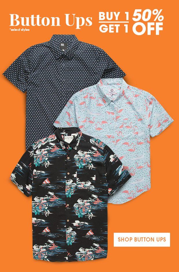 Shop Men's Button Up Shirts - Buy One Get One 50% Off