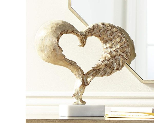 "Romance 12""H Whitewashed Gold Heart Sculpture on Marble Base"