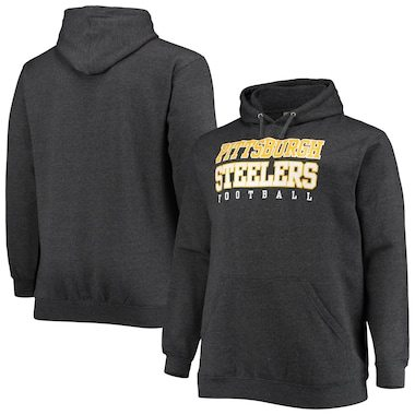 Pittsburgh Steelers Fanatics Branded Big & Tall Practice Pullover Hoodie - Heathered Charcoal
