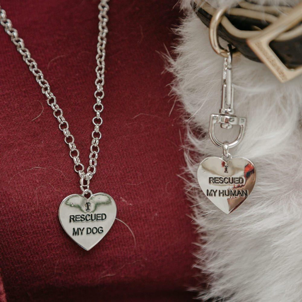 Image of 2 Piece I Rescued Necklace and Pet Tag Set
