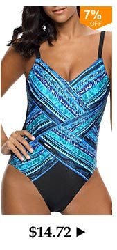 Spaghetti Strap Printed Blue One Piece Swimwear