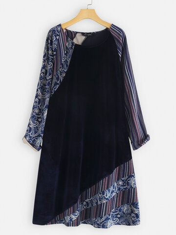 Velvet Floral Stripe Patchwork Long Blouse