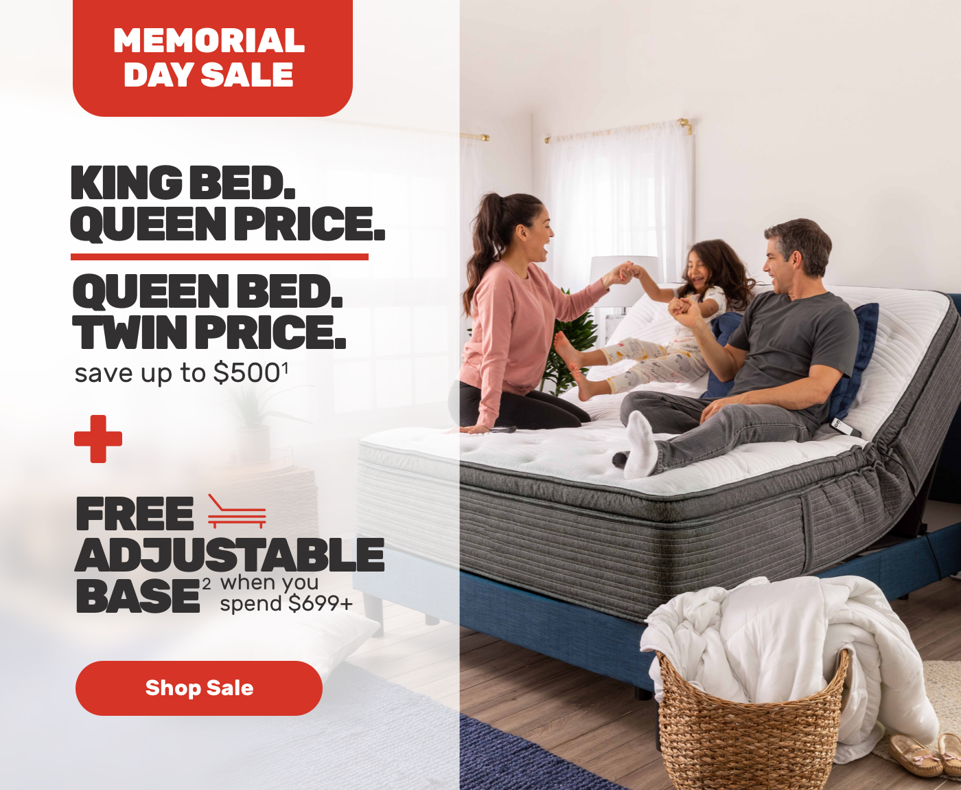 MEMORIAL DAY SALE-KING BED.QUEEN BED.save up to $500-FREE ADJUSTABLE BASE-when you spend $699+