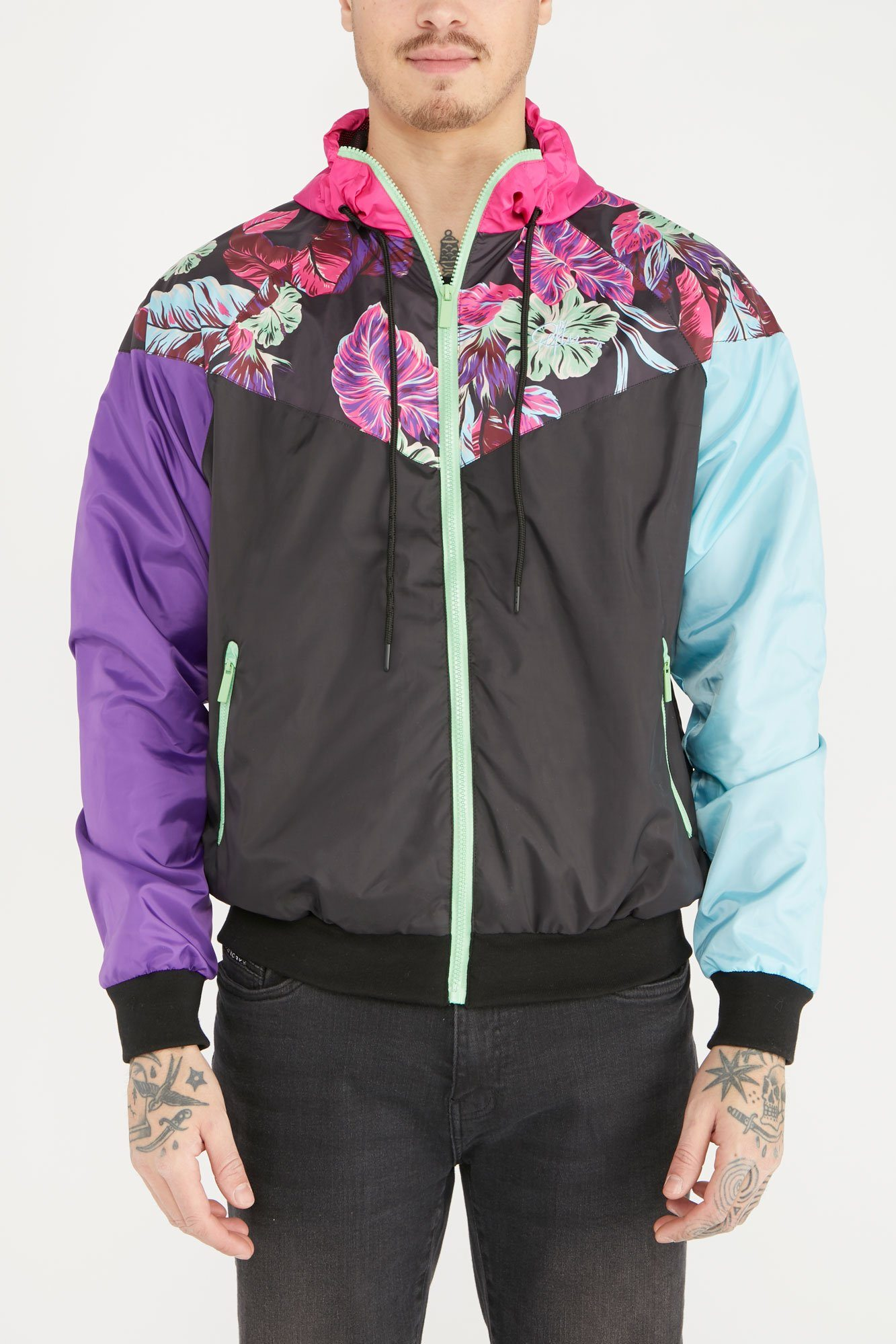 Image of Young & Reckless Mens Colour Block Full Zip-Up Windbreaker