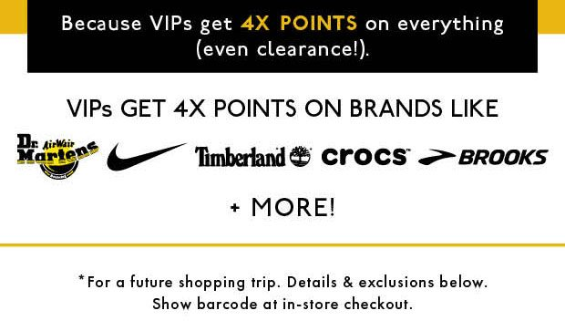 VIP GET 4X POINTS ON BRANDS LIKE