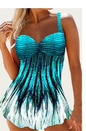 Open Back Printed Swimdress and Panty