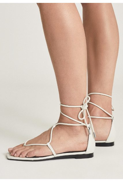 Kali Off White Leather Flat Sandals