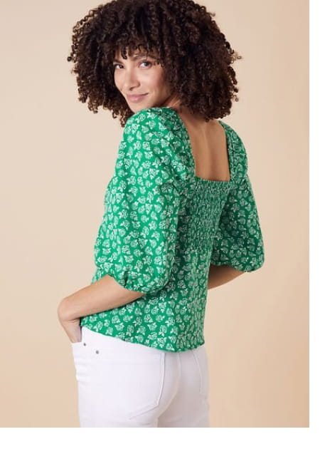 Rose print balloon sleeve top in organic cotton green