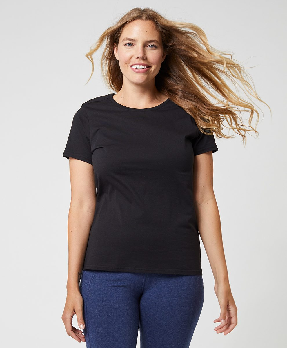 Women's Black Mid-Weight Crew Neck Tee