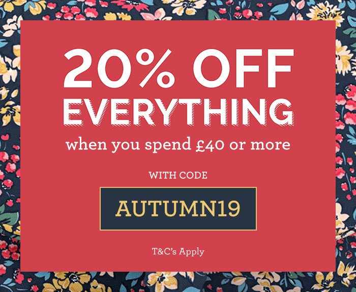 20% Off everything with code AUTUMN19, Shop Now