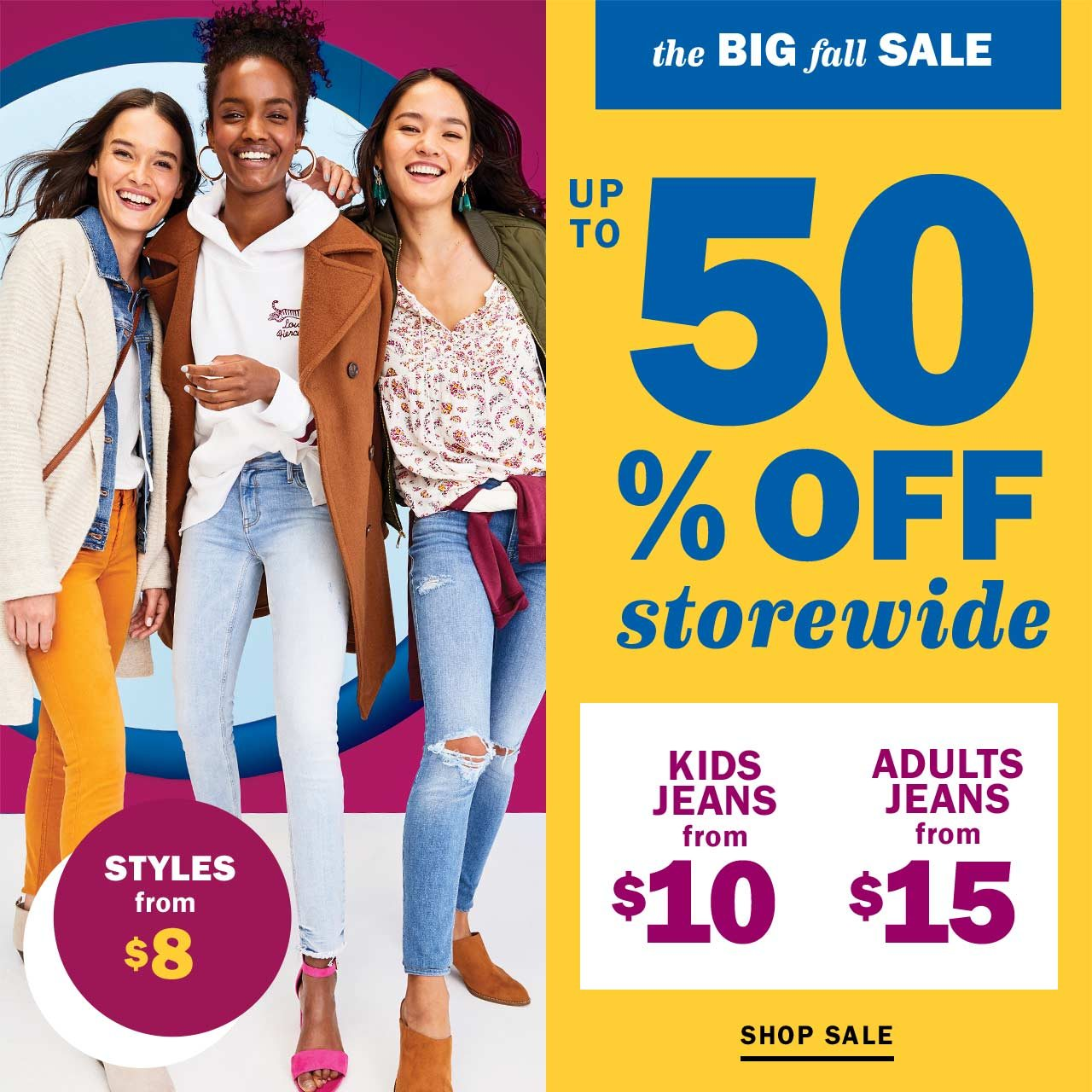 The Fall Sale is ON — $8 styles comin\' in hot - Old Navy Email Archive