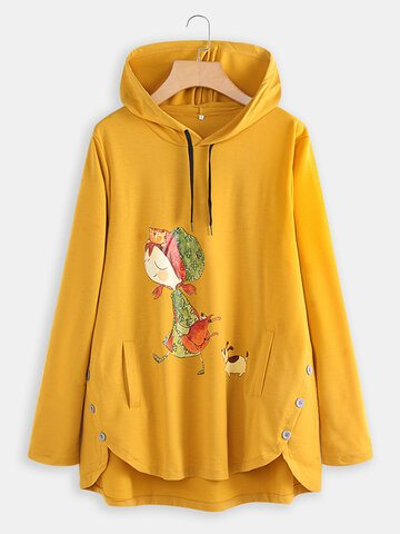 Cartoon Print Asymmetrical Hoodie