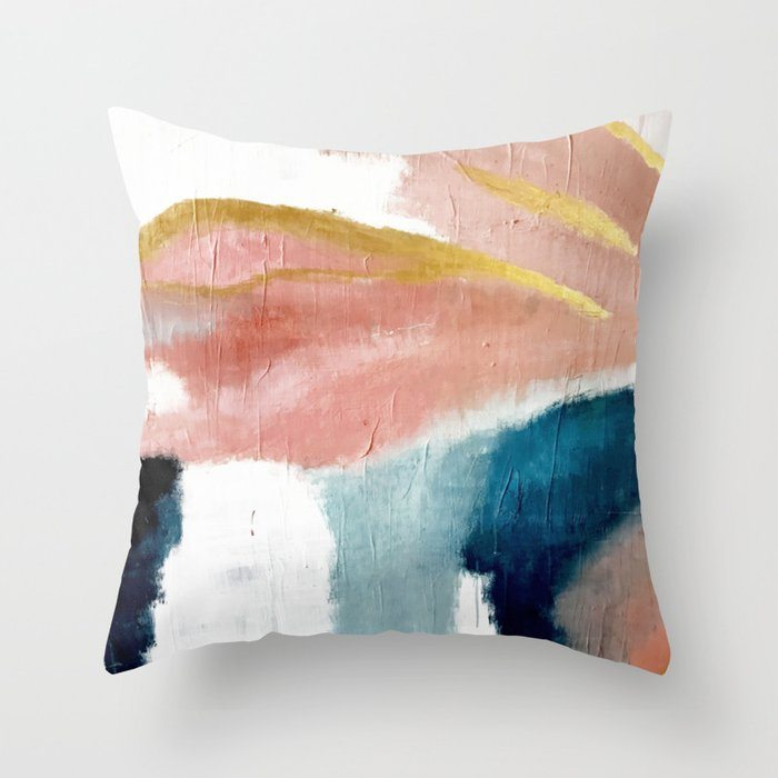 Exhale: a pretty, minimal, acrylic piece in pinks, blues, and gold