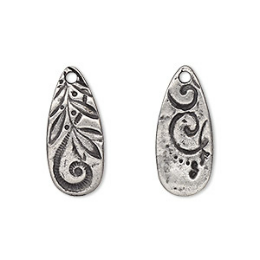 """Drop, TierraCast®, """"Vida Mas Dulce"""" collection, antiqued pewter (tin-based alloy), 23x10mm two-sided teardrop with jardin design. Sold per pkg of 2."""