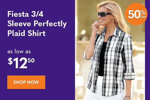 Women's Fiesta 3/4 Sleeve Perfectly Plaid Shirt as low as $12.50
