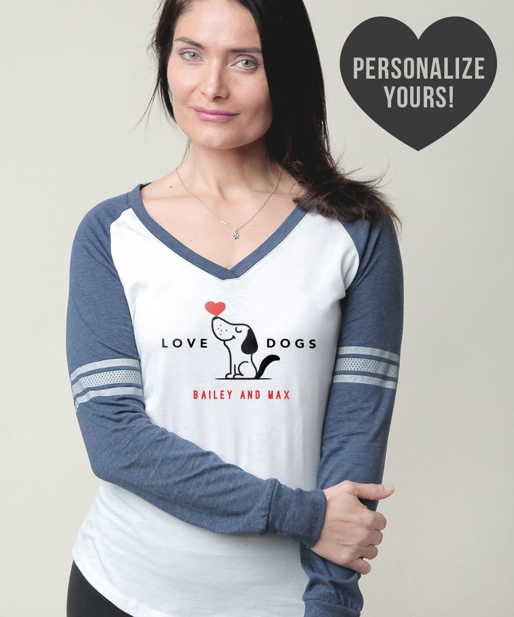 Image of Love Dogs Personalized Varsity V-Neck White & Navy Long Sleeve