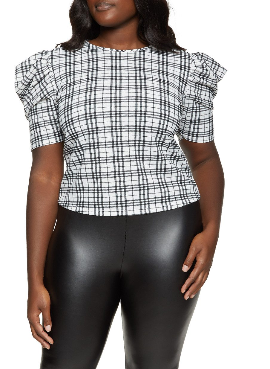 Plus Size Puff Sleeve Plaid Top