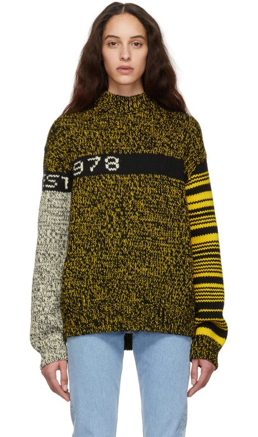 Calvin Klein Jeans Est. 1978 - Black & Yellow Wool Sweater