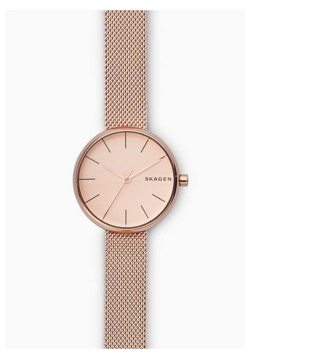 Signatur watch with a rose-gold-tone dial and rose-gold-tone steel-mesh strap.