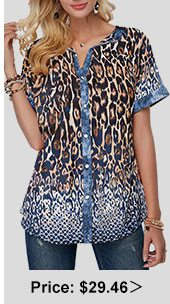 Turndown Collar Leopard Print Button Front Blouse
