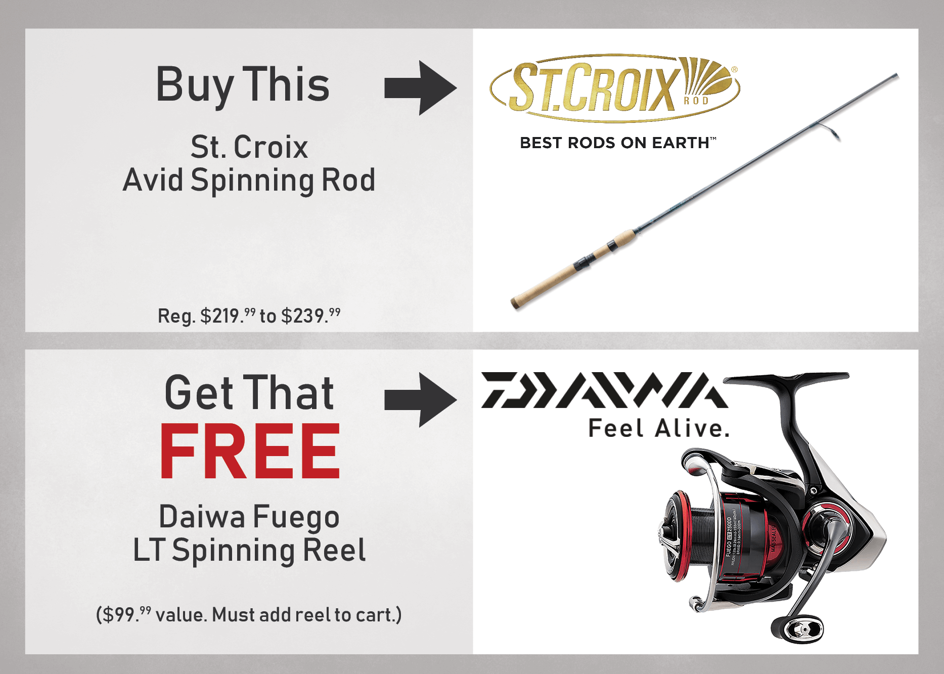 BUY a St. Croix Avid Spinning Rod, GET a Daiwa Fuego LT Spinning Reel FREE!