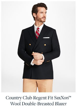 COUNTRY CLUB REGENT FIT SAXXON WOOL DOUBLE-BREASTED BLAZER