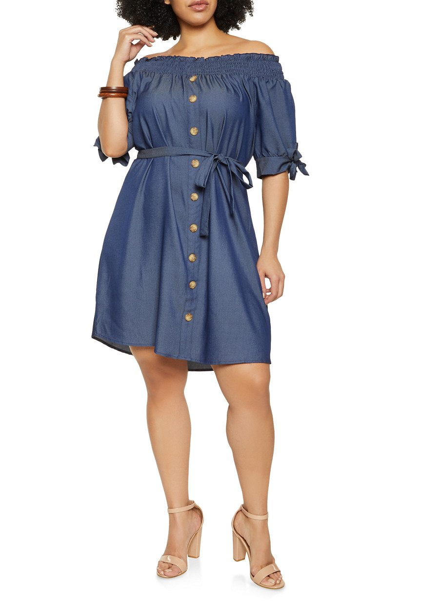 Plus Size Off the Shoulder Denim Dress