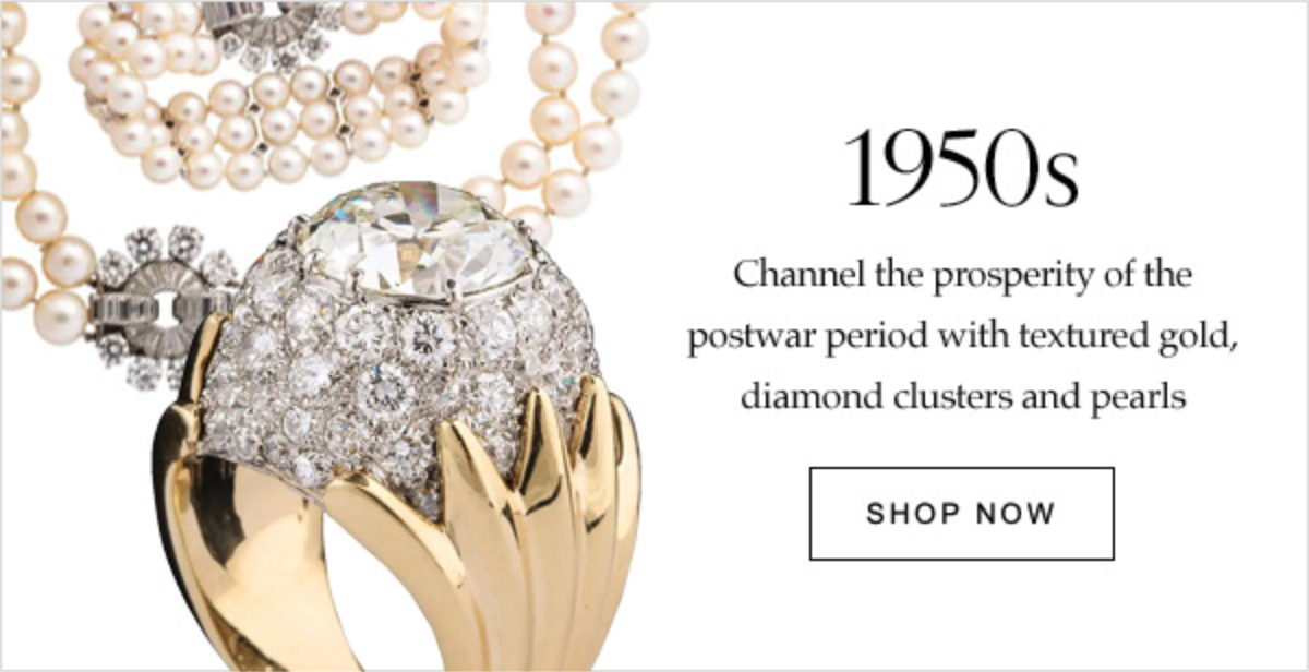 1950s Channel the prosperity of the postwar period with textured gold, diamond clusters and pearls | SHOP NOW