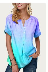 Button Front Short Sleeve Curved Hem Blouse